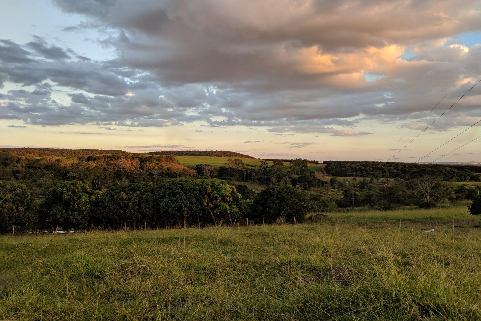 private farm in Brazil at dusk