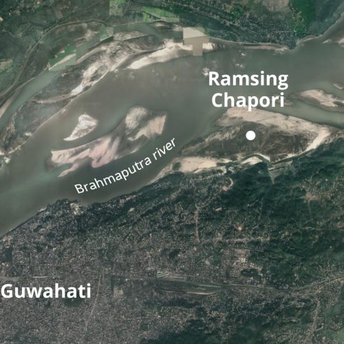 aerial view of a wide river and sandy river islands and sandbars